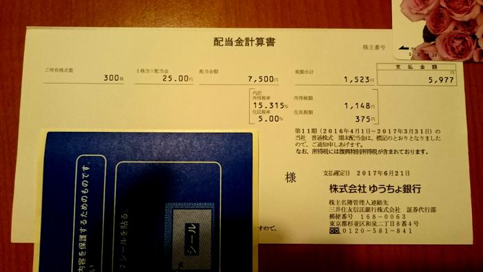 ゆうちょ銀行配当金計算書20170623