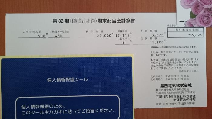 黒田電気配当金計算書20170703