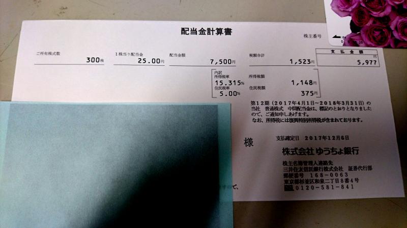 ゆうちょ銀行配当金計算書イメージ20171208