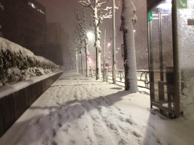 寒波襲来雪の街路イメージ20180126