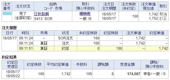 日新製鋼売却画面イメージ20180517