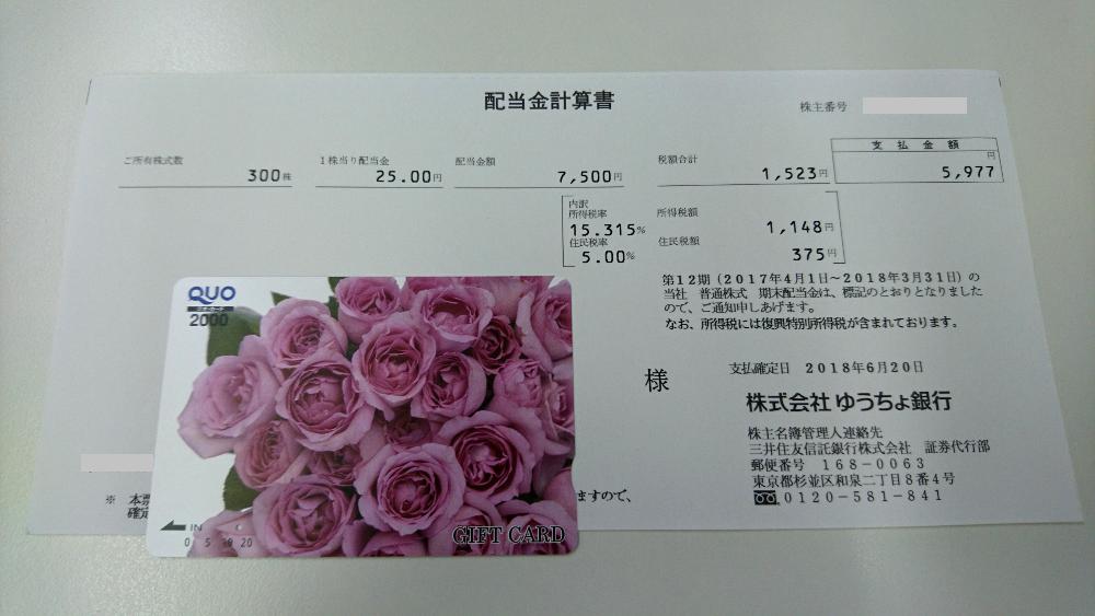 ゆうちょ銀行配当金計算書イメージ20180621