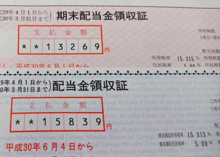 丸紅みずほ配当金受取領収書イメージ20180604