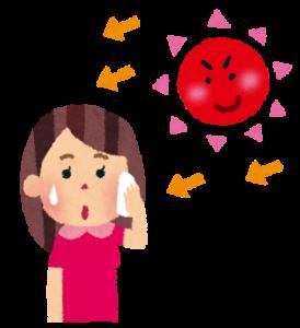 強い日差しと汗ばむ女性のイメージ20180713
