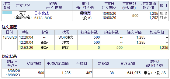 日本郵政売却画面イメージ20180820