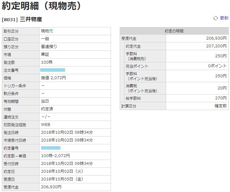 三井物産売却画面イメージ20181002
