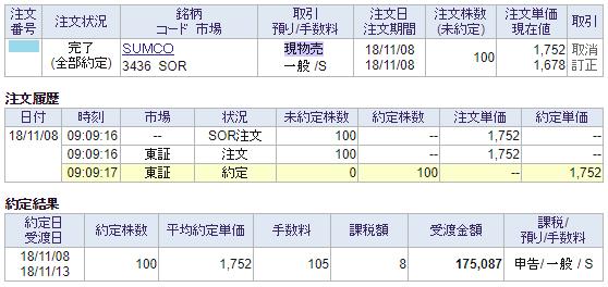 SUMCO売却画面イメージ20181108