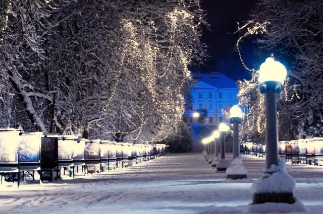 雪の瀟洒な住宅街イメージ20190208