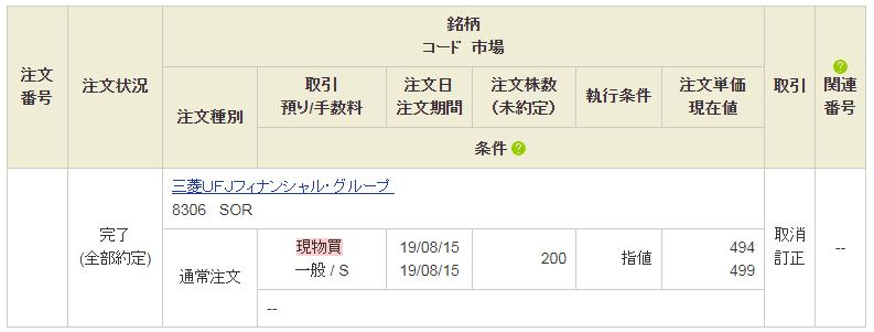 三菱UFJフィナンシャル・グループ購入画面20190815