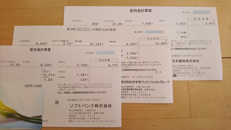 みずほ他配当金計算書イメージ20191213