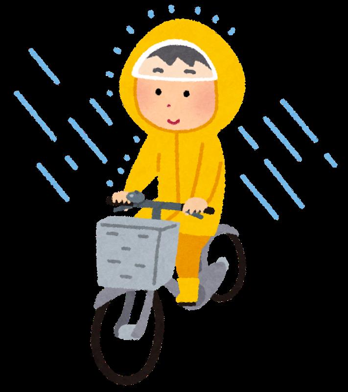 かっぱを着て自転車に乗る人